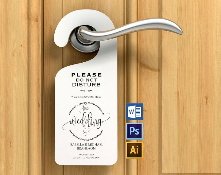 Door Hanger Template Psd Luxury 14 Memorable Wedding Door Hanger Templates Psd Vector