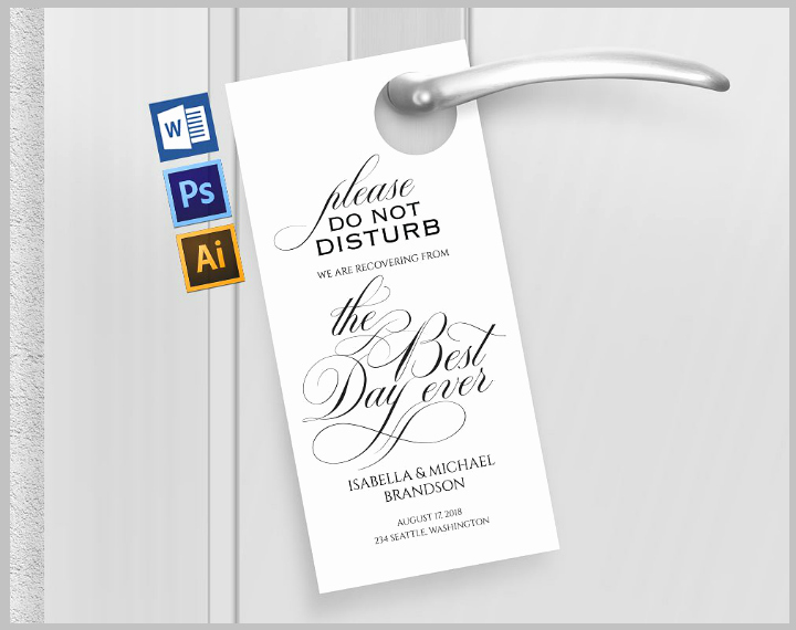 Door Hanger Template Psd Unique 14 Memorable Wedding Door Hanger Templates Psd Vector