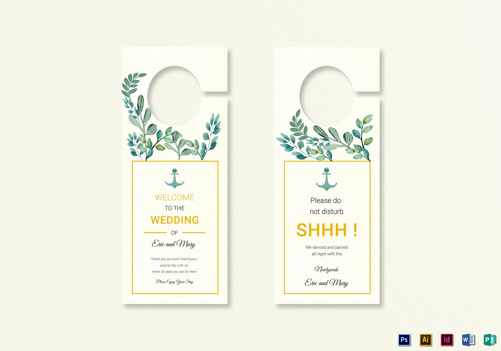 Door Hanger Template Publisher Awesome Nautical Wedding Door Hanger Template In Psd Word