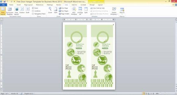 Door Hanger Template Publisher Inspirational Free Door Hanger Template for Business Word 2013