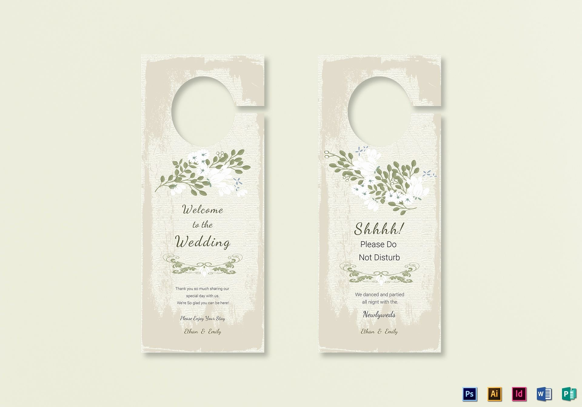 Door Hanger Template Publisher New Vintage Wedding Door Hanger Template In Psd Word