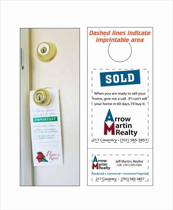Door Hanger Template Publisher Unique Sample Promotional Door Hangers Templates 6 Free
