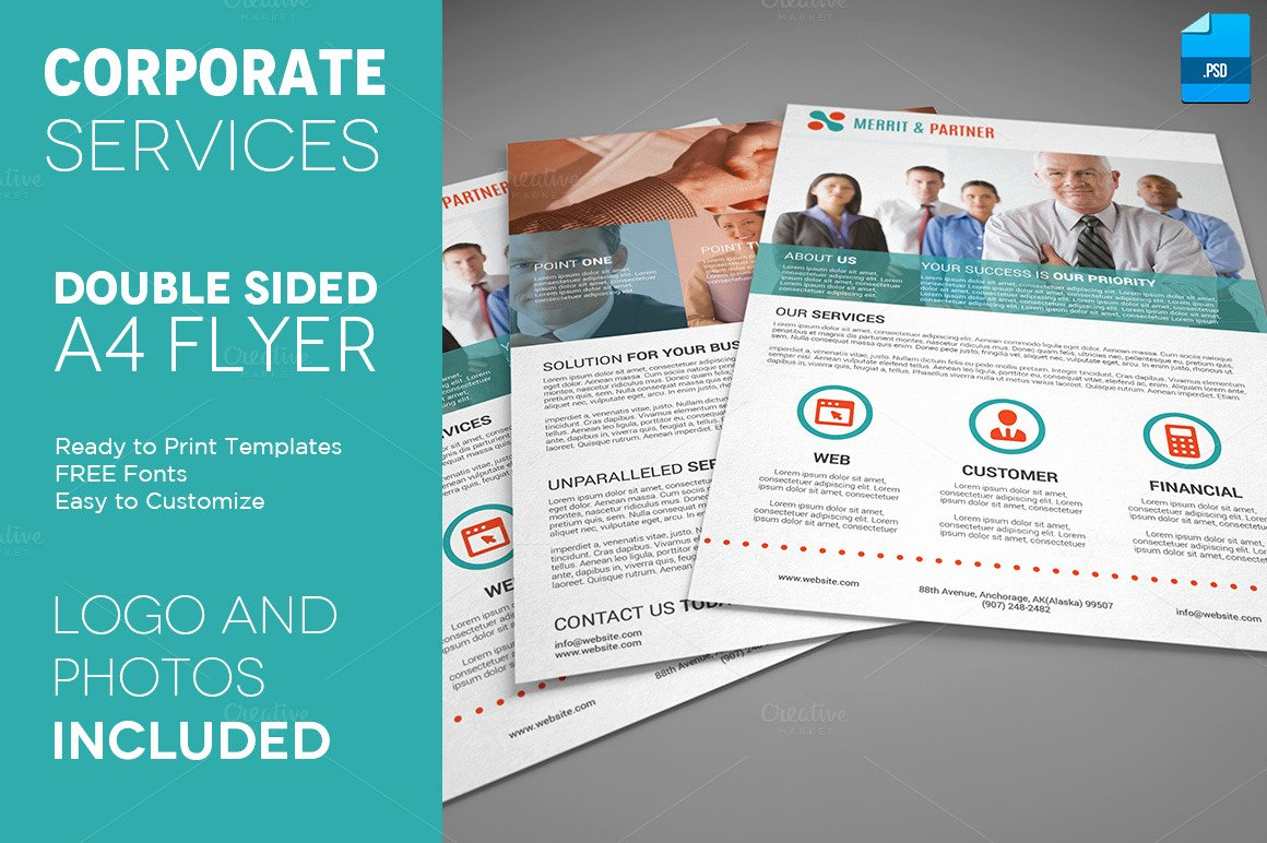 Double Sided Brochure Template Luxury A4 Double Sided Corporate Flyer Flyer Templates On