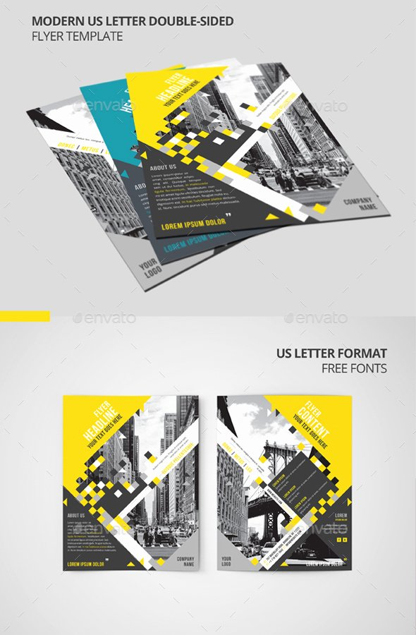 Double Sided Flyer Template Awesome Modern Us Letter Double Sided Flyer Template by