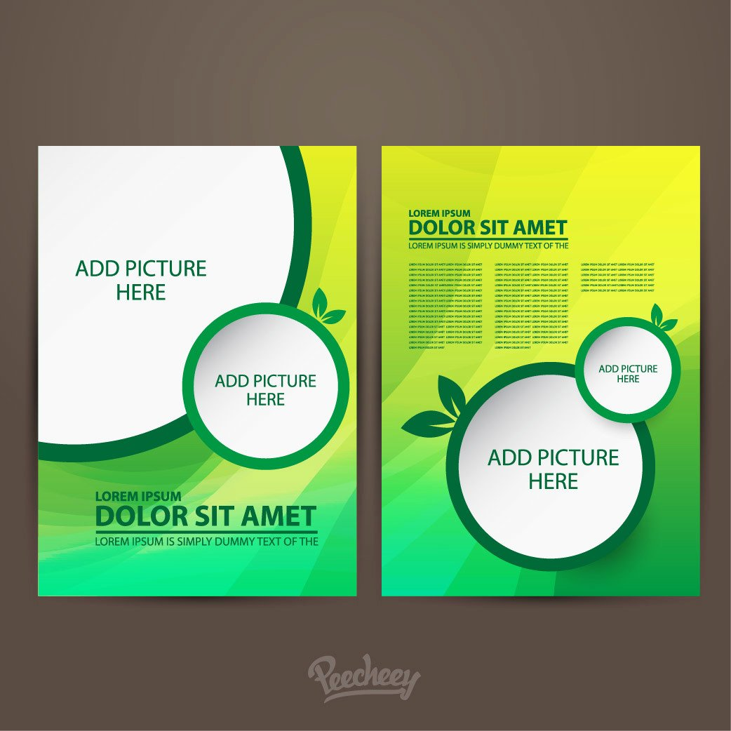 Double Sided Flyer Template Fresh Two Sided Green Brochure Template Vector