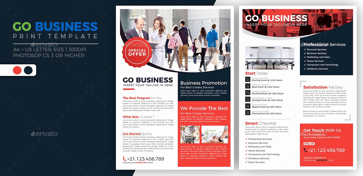 Double Sided Flyer Template Unique Go Business Double Sided Flyer by Jumpjazz