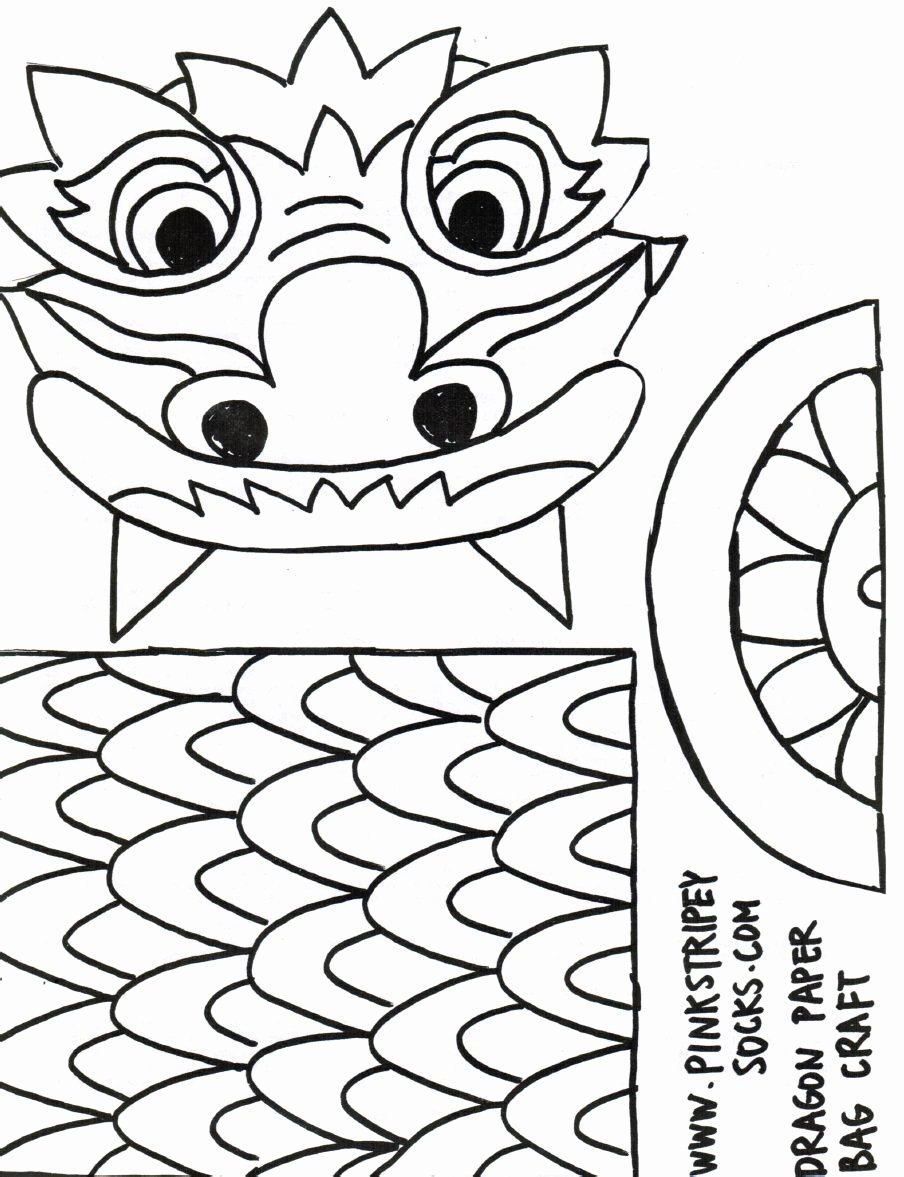 Dragon Cut Out Template Beautiful Chinese New Year Paper Bag Craft Template