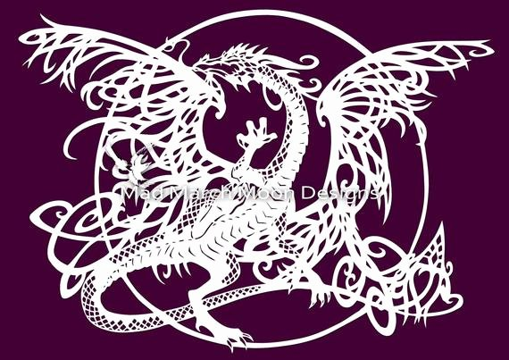 Dragon Cut Out Template Beautiful Tangle Dragon Personal Use Papercut Template Pdf