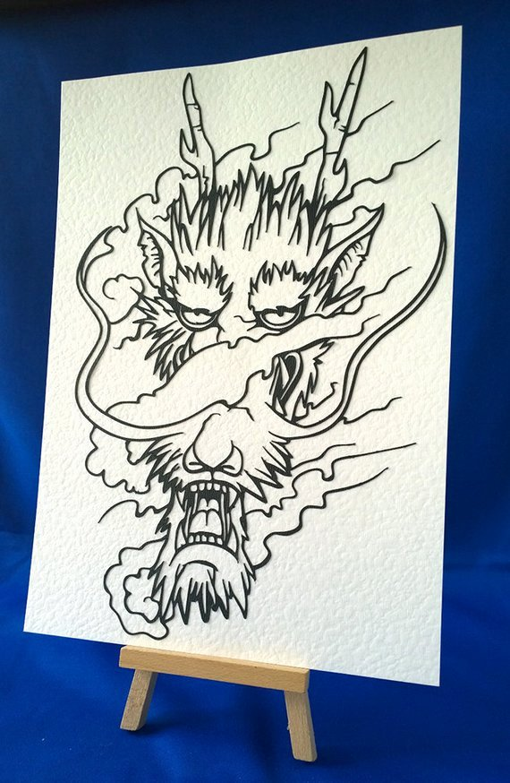 Dragon Cut Out Template Best Of Items Similar to Dragon Head Papercut Template On Etsy