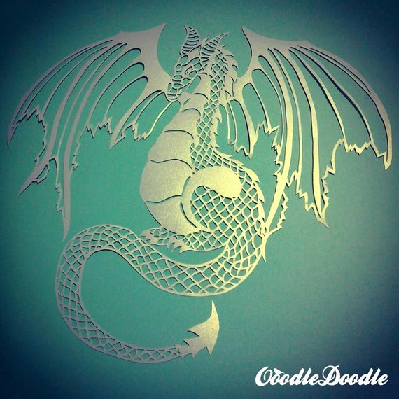 Dragon Cut Out Template Fresh Papercut Template Dragon Personal Use Papercut by Ooodledoodle