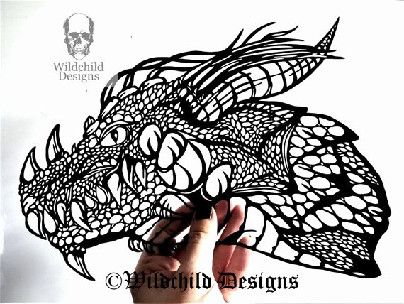 Dragon Cut Out Template Unique Dragon Head Gothic Silhouette Paper Cutting Template for