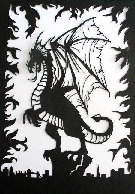 Dragon Cut Out Template Unique Dragon Paper Cut Art Fantasy theme London Skyline Fire