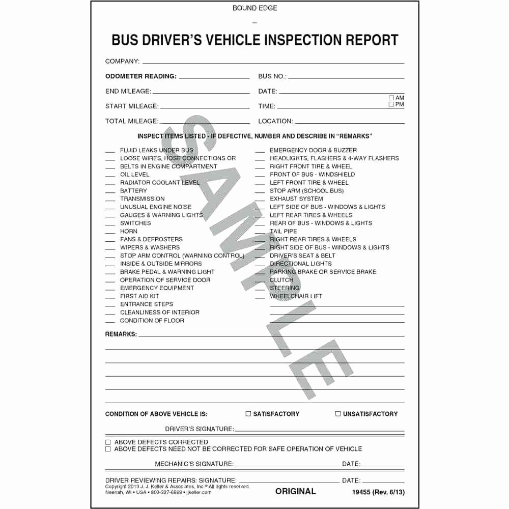 Driver Vehicle Inspection Report Template Fresh Template Driver Vehicle Inspection Report Template Free