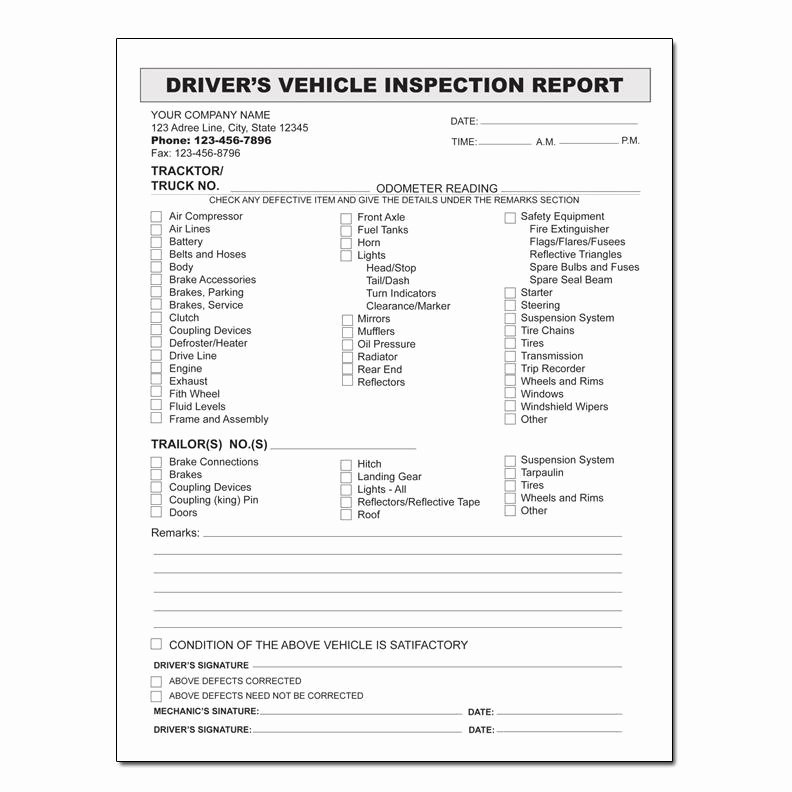 Driver Vehicle Inspection Report Template New Drivers Daily Vehicle Inspection Report form Templates