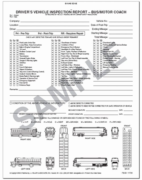 Driver Vehicle Inspection Report Template Unique Driver S Vehicle Inspection Report for Bus & Motor Coach