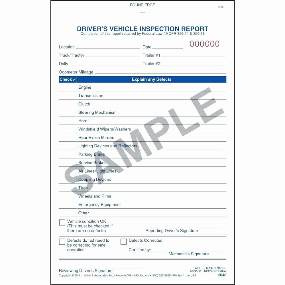Driver Vehicle Inspection Report Template Unique Template Truck Log Book Template