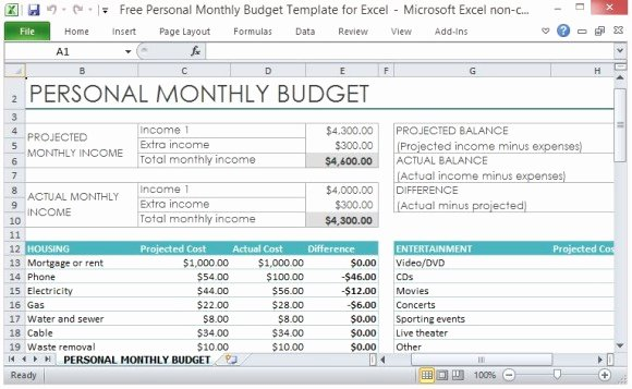 Easy Excel Budget Template Best Of Free Personal Monthly Bud Template for Excel