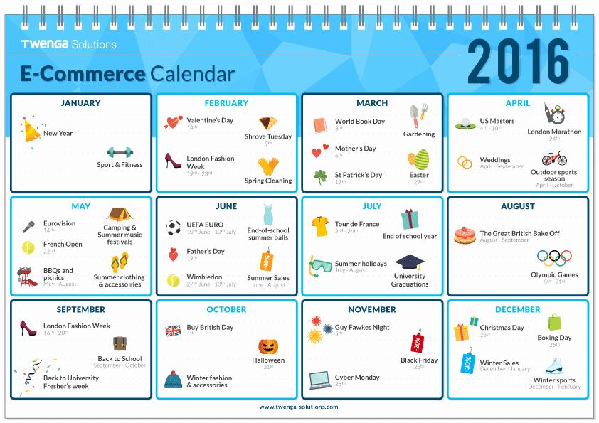 Ecommerce Marketing Plan Template Inspirational E Merce Calendar for 2016