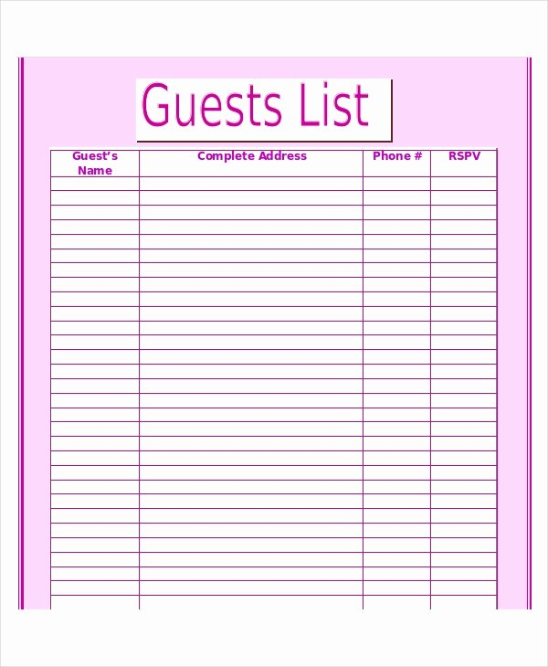 Editable Checklist Template Word Inspirational Wedding Guest List Template 9 Free Word Excel Pdf