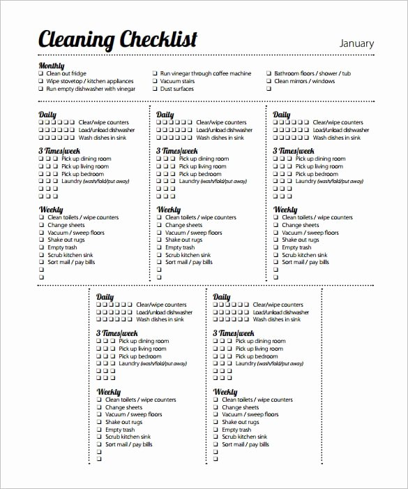 Editable Checklist Template Word Lovely 6 Cleaning List Templates formats Examples In Word Excel