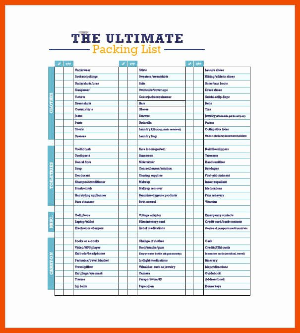 Editable Checklist Template Word Luxury 3 4 Packing List Template