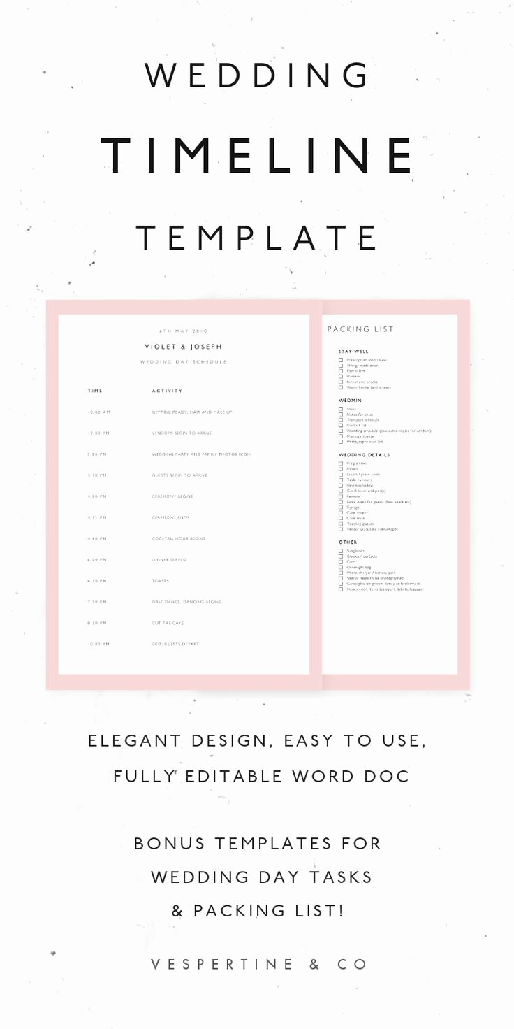 Editable Checklist Template Word New the 25 Best Wedding Timeline Template Ideas On Pinterest