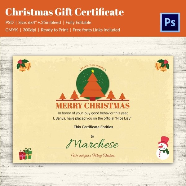 Editable Gift Certificate Template Awesome Christmas Gift Certificate Templates 21 Psd format