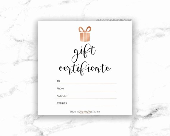 Editable Gift Certificate Template Elegant Printable Rose Gold Gift Certificate Template Editable
