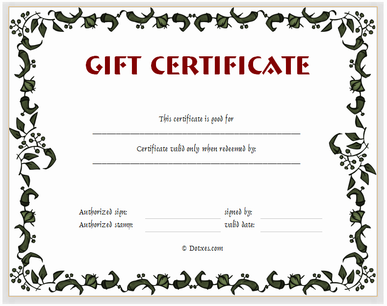 Editable Gift Certificate Template Lovely 15 Fill In the Blank Certificate Templates