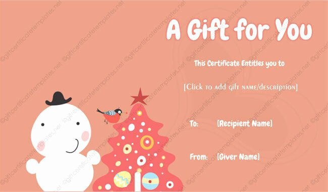 Editable Gift Certificate Template New 24 Christmas & New Year Gift Certificate Templates