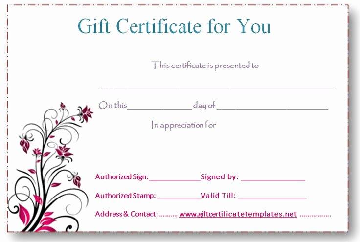Editable Gift Certificate Template Unique 5 Best Of Free Editable Printable Gift Certificates