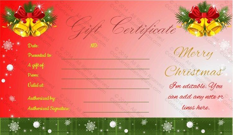 Editable Gift Certificate Template Unique Editable Christmas Gift Certificate Template