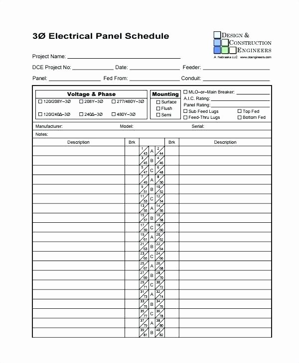 Electrical Panel Schedule Template Excel Awesome Electrical Panel Schedule Template Excel Change Request