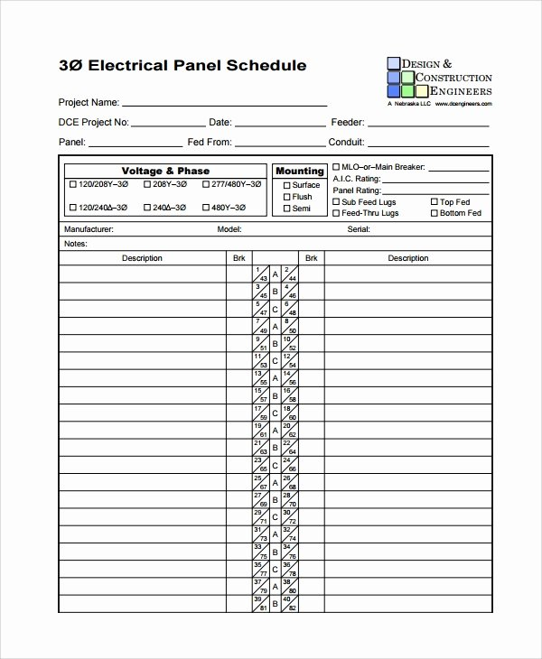 Electrical Panel Schedule Template Excel Inspirational 8 Panel Schedule Templates