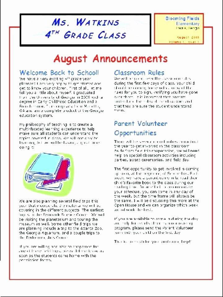 Elementary Classroom Newsletter Template Awesome Elementary School Newsletter Template – Flirty