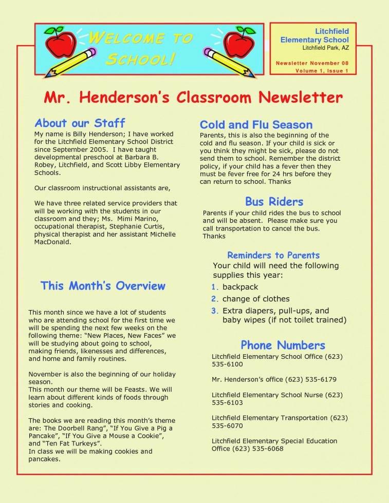 Elementary Classroom Newsletter Template Beautiful Elementary Classroom Newsletter Template Luxury School