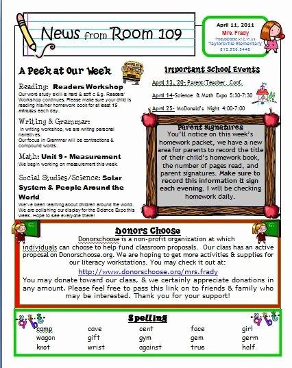 Elementary Classroom Newsletter Template Beautiful Free Kindergarten Templates Downloads