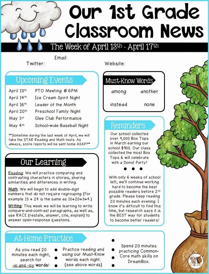 Elementary Classroom Newsletter Template Beautiful Parent Munication 1st Grade the Brown Bag Teacher
