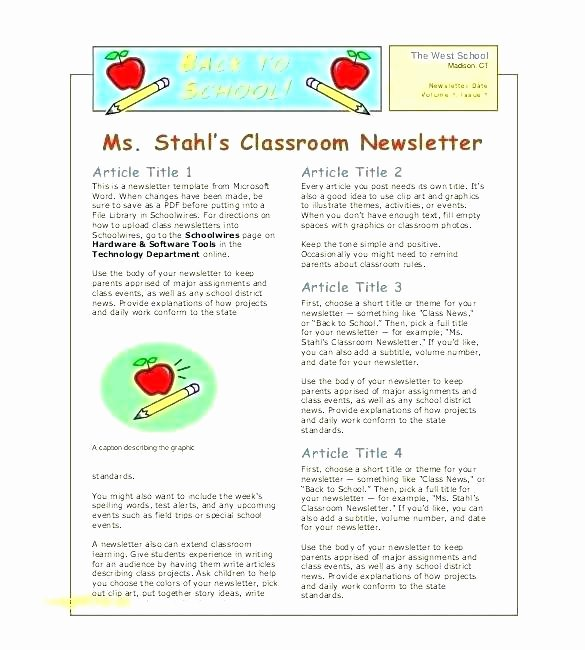 Elementary Classroom Newsletter Template Best Of Free Editable Teacher Newsletter Template by Elementary