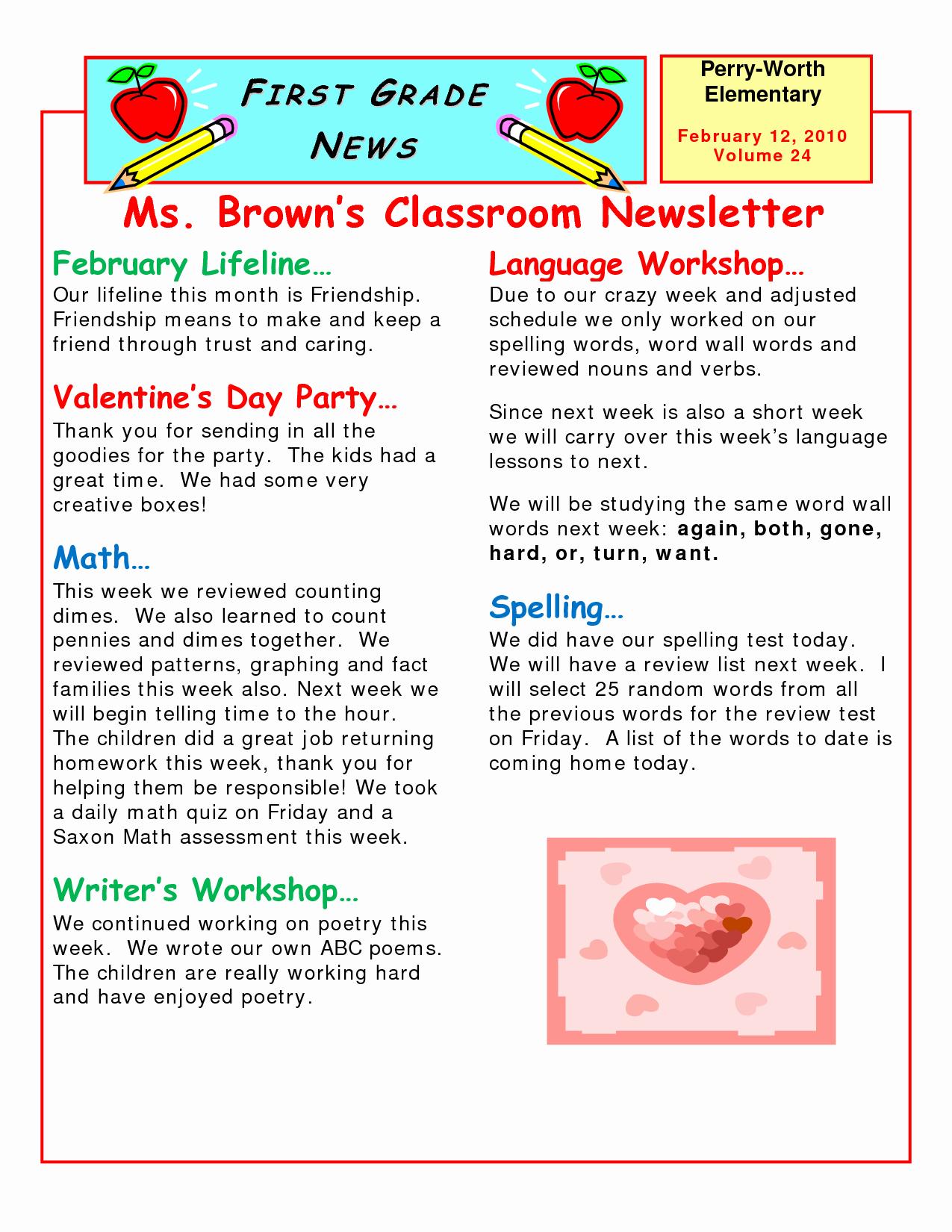 Elementary Classroom Newsletter Template Elegant 5 Best Of Elementary Classroom Newsletter Template