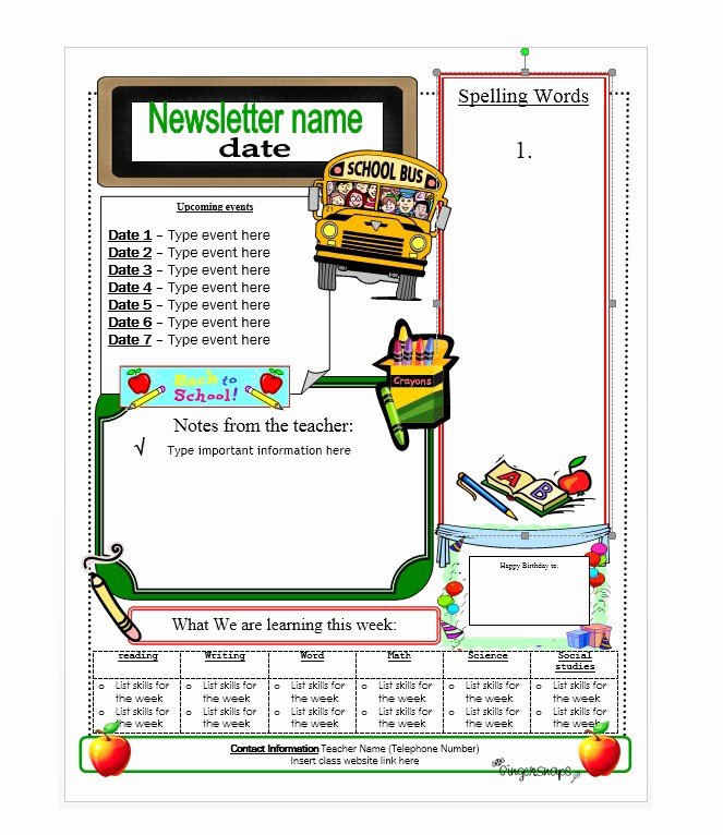 Elementary Classroom Newsletter Template Elegant 50 Free Newsletter Templates for Work School and Classroom