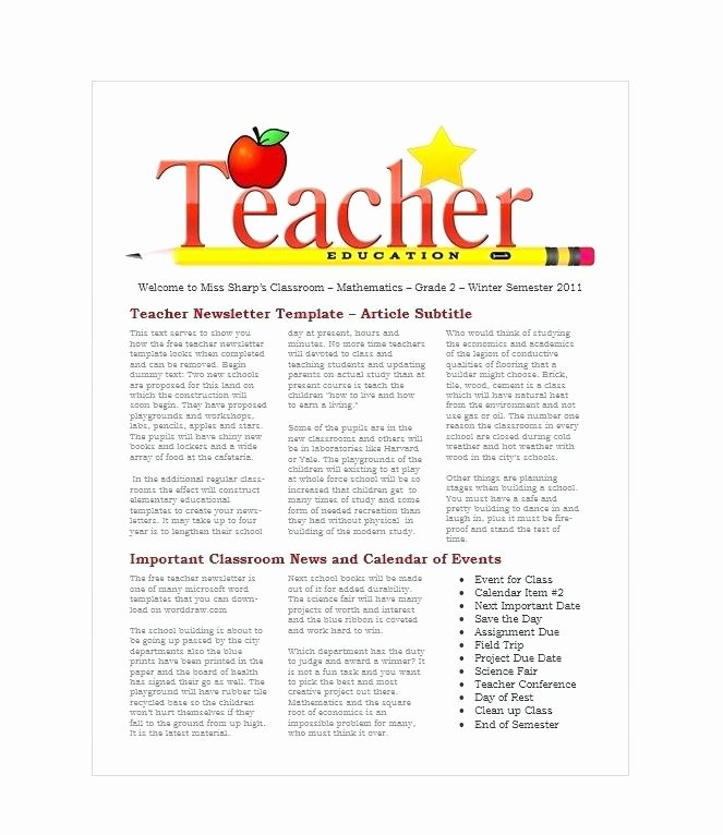 Elementary Classroom Newsletter Template Elegant Elementary Classroom Newsletter Template – Freewarearenafo