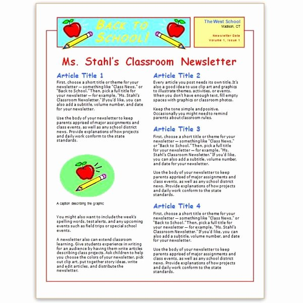 Elementary Classroom Newsletter Template Elegant where to Find Free Church Newsletters Templates for