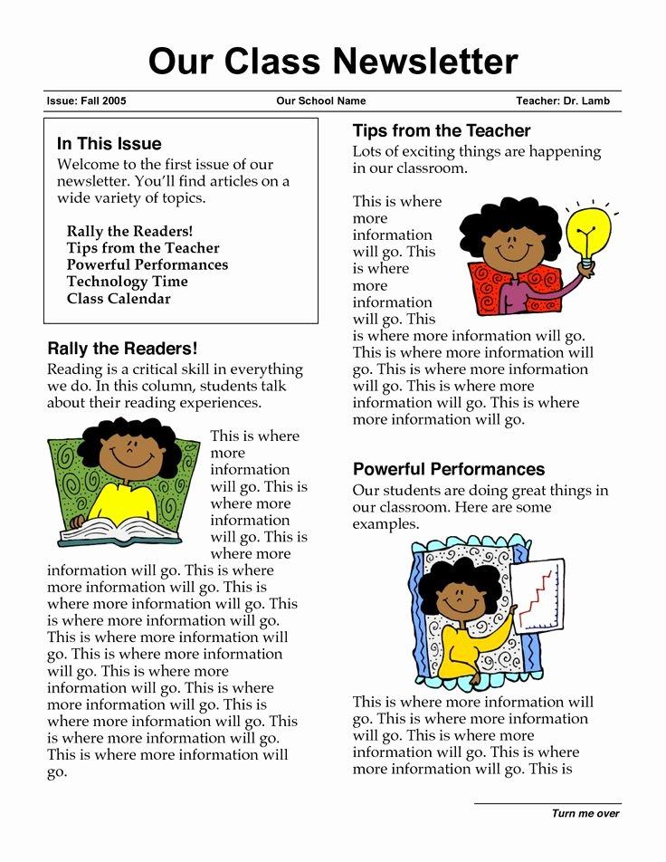 Elementary Classroom Newsletter Template Fresh 17 Best Ideas About School Newsletters On Pinterest