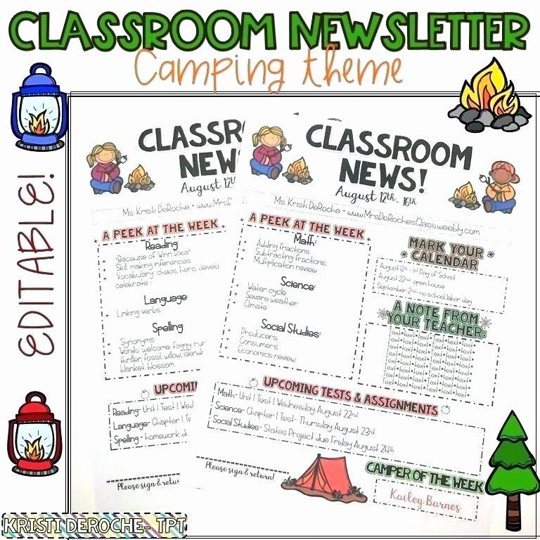 Elementary Classroom Newsletter Template Lovely Free Newsletter Template Word Elementary School Ideas
