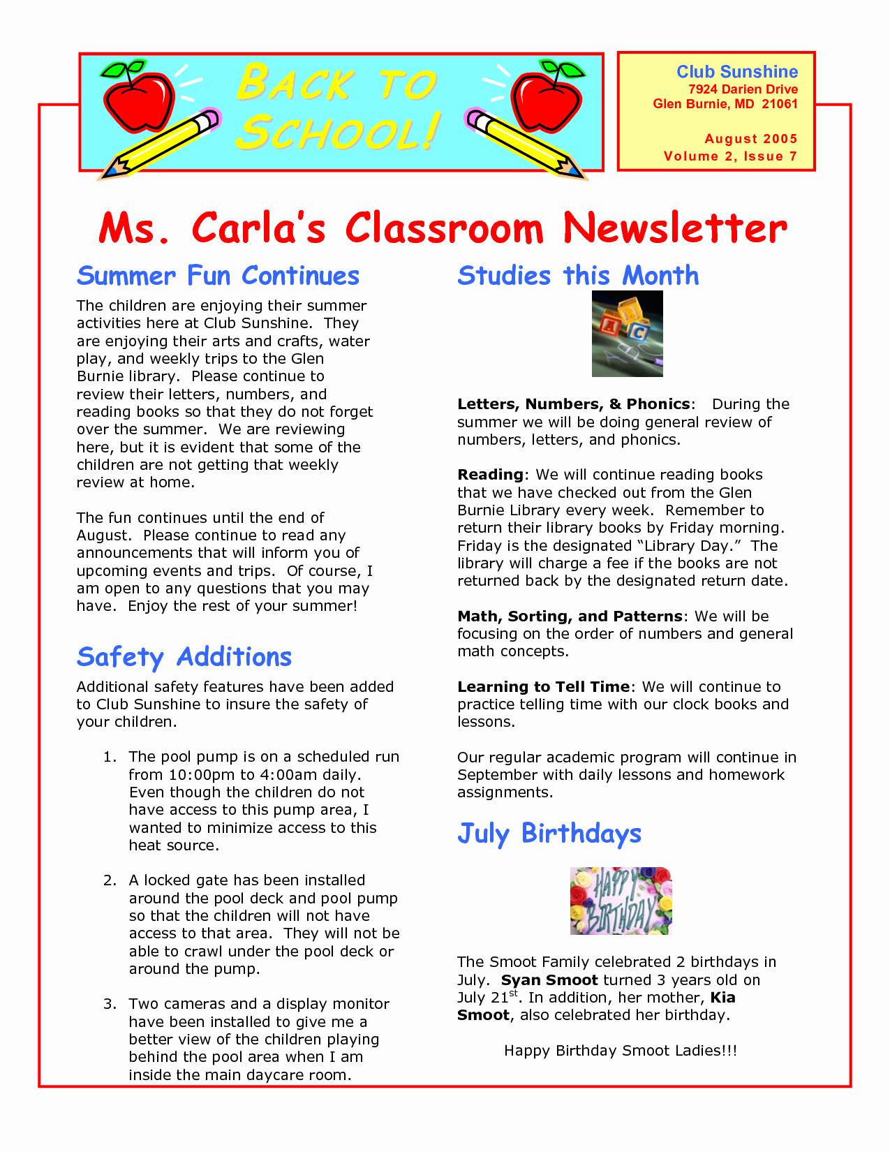 Elementary Classroom Newsletter Template Luxury Classroom Newsletter Templates Wallpapersupnet Xbedd3os