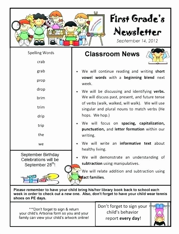 Elementary Classroom Newsletter Template Luxury Free Editable Teacher Newsletter Template by Elementary