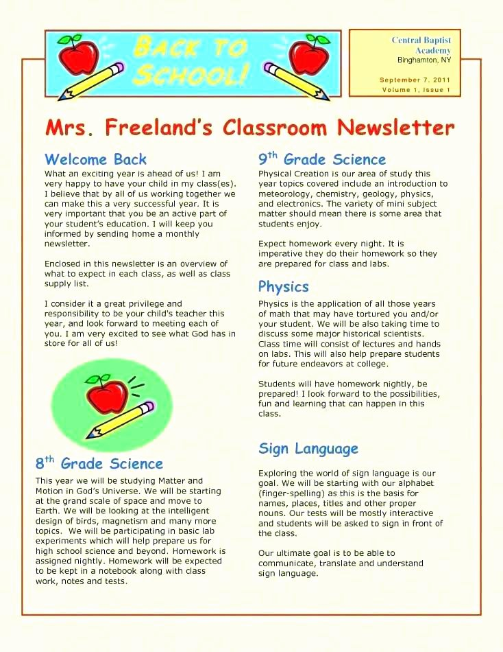 Elementary Classroom Newsletter Template New Free School Newsletters Templates where to Find Church for