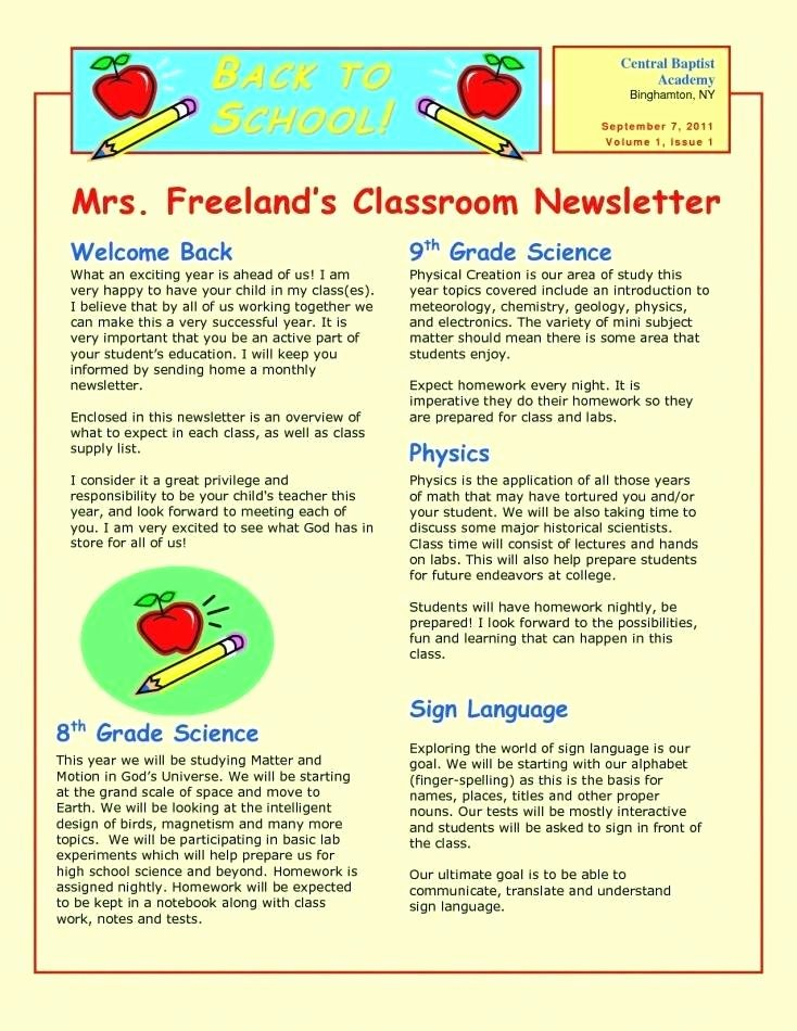 Elementary Classroom Newsletter Template Unique 14 15 Elementary School News Letter
