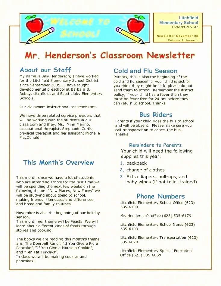 Elementary Classroom Newsletter Template Unique Elementary Classroom Newsletter Template